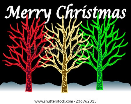 Three trees with illuninated tree branches in an outdoor night scene with snow  and illuminated words that display Merry Christmas greetings