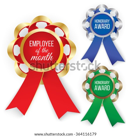 Three types of awards: Gold, silver and bronze. Vector illustration EPS 10 - stock vector