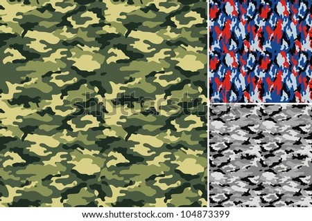 Three types of drawing of a fabric for a camouflage - stock vector