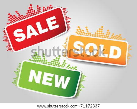 Three types of sale tags with small music bar - stock vector