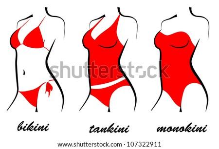 three types of swimsuits. bikini, tankini, monokini. silhouette - stock vector