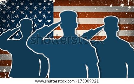 Three US Army soldiers saluting on grunge american flag background vector (for 4th of July and Veteran's day) - stock vector
