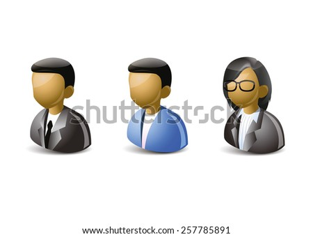 Three users icon on white background. Man and woman. - stock vector