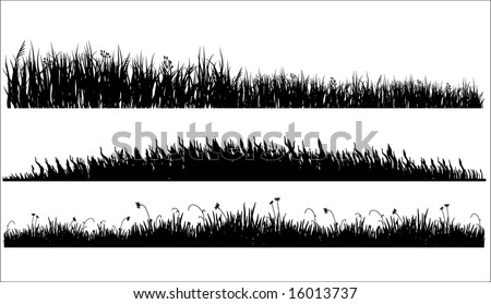 Grass Outline Vector of black silhouette of a