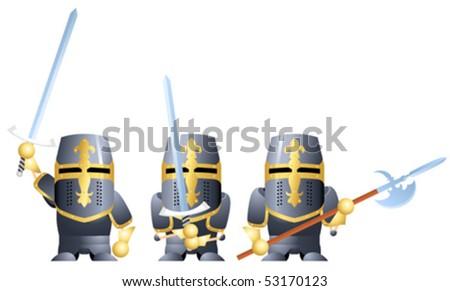 Three variants of knight in dark armor - stock vector