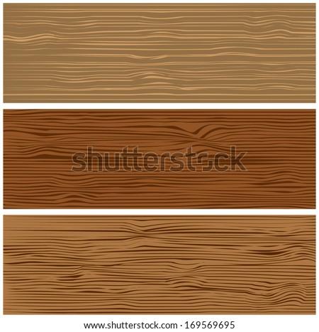 Three variants of wooden texture. Vector illustration - stock vector