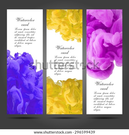 Three vector business cards template with hand painted watercolor ink brush strokes backgrounds and splatters. EPS - stock vector