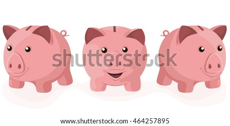 Three vector cartoon piggy bank characters.