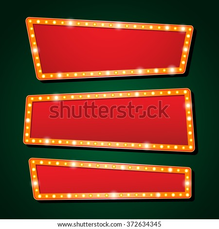 Three vector Casino banner light And theater sign - stock vector