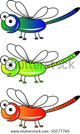 Three vector dragon flies - stock vector