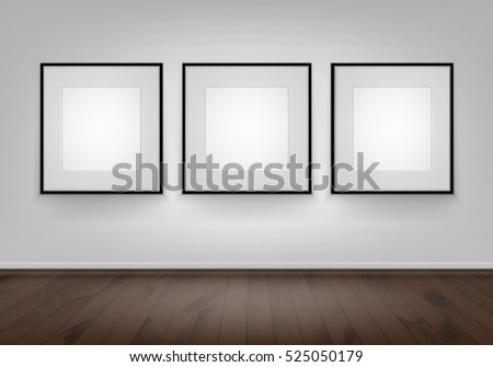 three vector empty blank white mock up posters pictures black frames on wall with brown wooden