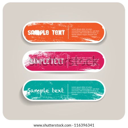 Three vector grungy paper stickers / banners / badges / labels with hand painted / cracked paint worn out backgrounds