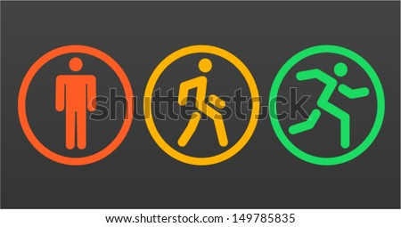 Three vector human icon: stand, walk and run - stock vector