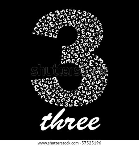 THREE. Vector illustration. - stock vector