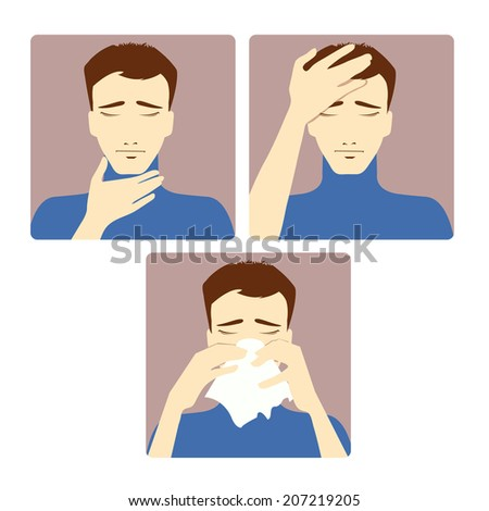 Three vector image of a man complaining about headache, sore throat and cold. Each image shows symptoms of a cold - stock vector