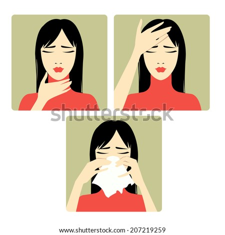 Three vector image of a woman complaining about headache, sore throat and cold. Each image shows symptoms of a cold - stock vector
