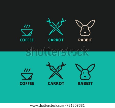 three vector logos of rabbit, carrot, coffee