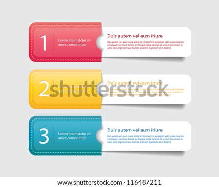 Three vector paper tags / labels / banners in the pockets, one two three steps - stock vector