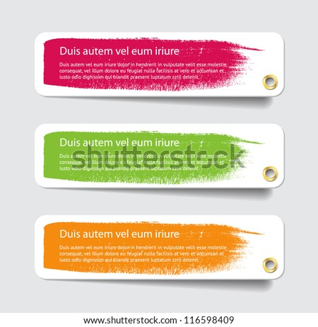 Three vector paper tags / labels / banners / stickers with hand painted brush strokes and metallic holes - stock vector
