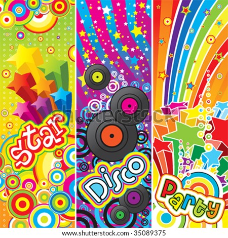 Three vector party banners - stock vector