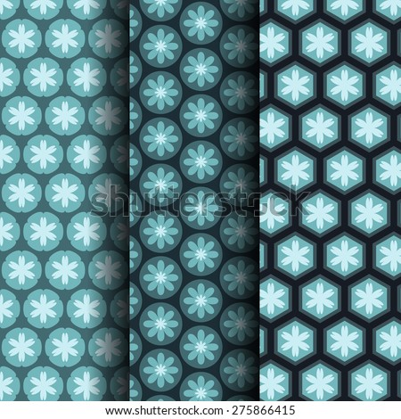 Three vector simple patterns, Including Pattern Swatches can be used for wallpaper, pattern fills, web page, background, surface. - stock vector
