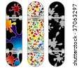 Three vector skateboard colorful designs - stock vector