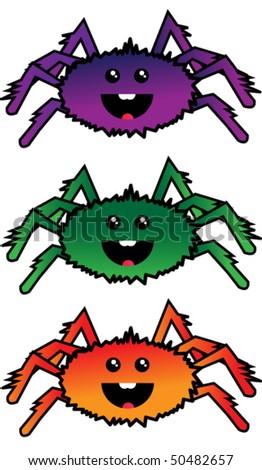 Three Vector spiders - stock vector