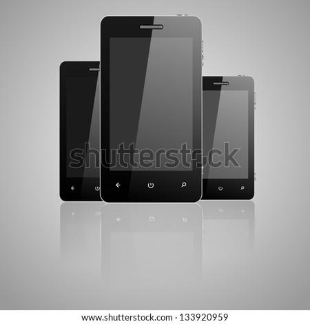Three vector telephones - stock vector