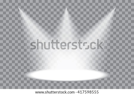 three vector transparent spotlights - stock vector