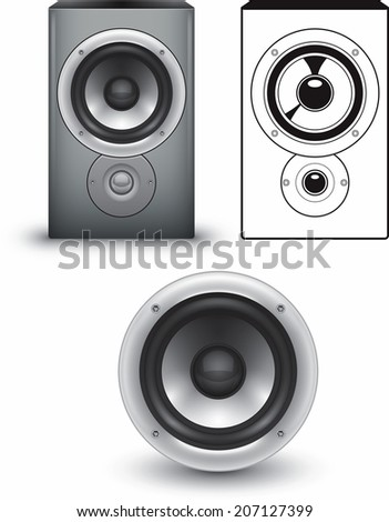 Three versions of a stereo speaker.