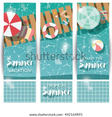 Three vertical banners with swimming pool, top view, tropical summer time holiday vacation, vector illustration - stock vector