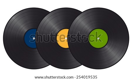 three vinyl records - stock vector