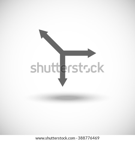 Three-way direction arrow. Simple flat icon - stock vector