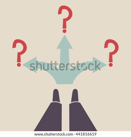 Three way direction blue arrow. Standing at the crossroad. Three ways for selection. - stock vector