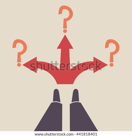 Three-way direction red arrows. Standing at the crossroad. Three ways for selection. - stock vector