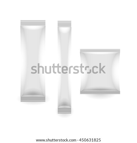 three White Blank Foil Packaging Coffee, Salt, Sugar, Pepper Or Spices Stick Plastic or paper Pack Ready For Your Design. Snack Product Packing Vector - stock vector