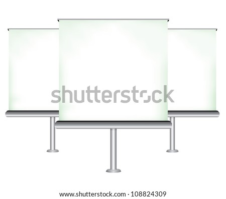 three white blank projector screen, vector