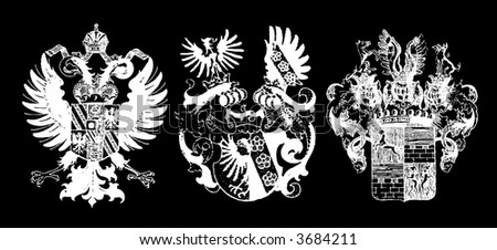 Three white historical shields on black - can be used how background (vector, illustration) - stock vector