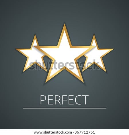 Three white stars with gold loop. beautiful gradient background - stock vector