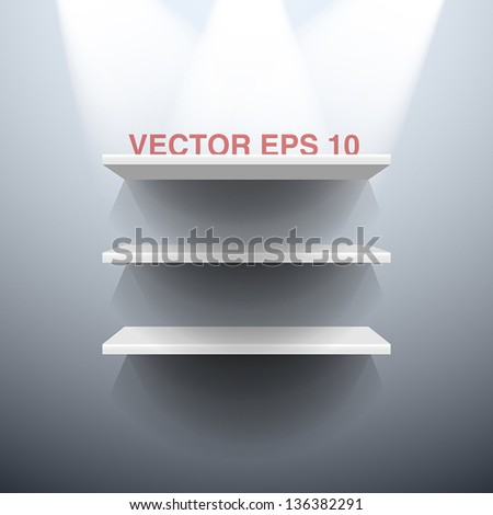 Three white vector shelves illuminated by spots lights - stock vector