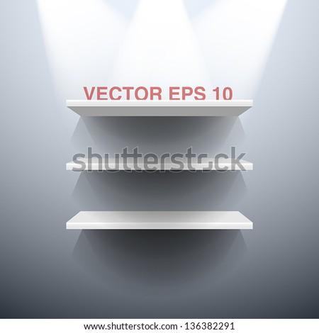 Three white vector shelves illuminated by spots lights - stock vector