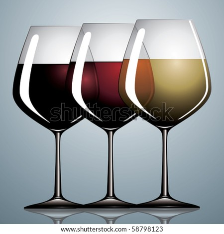 Three wineglasses with gray background.