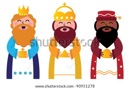 Three wise men bringing gifts to Christ, isolated on white - stock vector