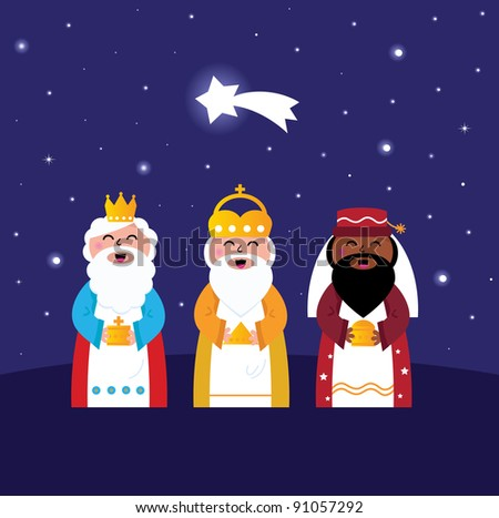 Three wise men bringing gifts to Christ ( night scene ) - stock vector
