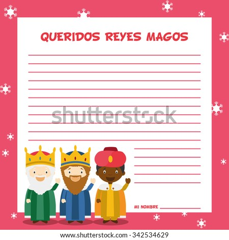 Three Wise Men letter template vector illustration for Christmas time in Spanish, with child characters. - stock vector