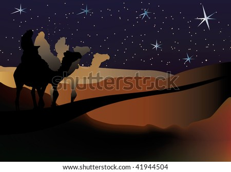 three Wise-men nativity scene on a starry background - stock vector