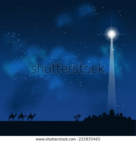 three wise men on the way to see a baby Jesus in Bethlehem - stock vector