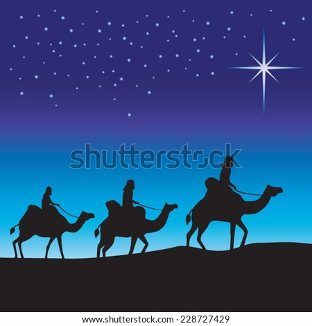 Three wise men silhouette. Three wise men on camels following the star. - stock vector
