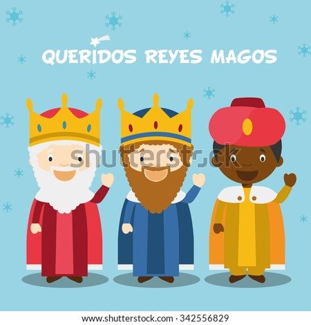 Three Wise Men vector illustration for Christmas time in Spanish, with child characters.  - stock vector