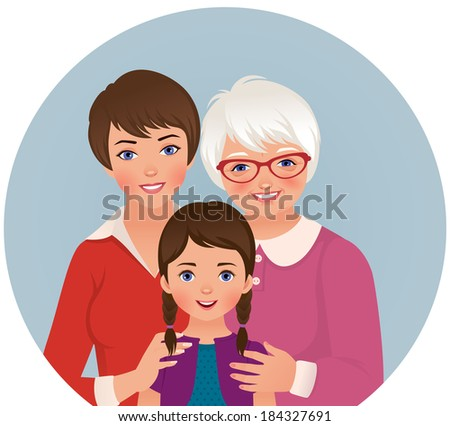 Three women: grandmother, mother and granddaughter/Grandmother, mother and daughter/Stock illustration of three generations of women - stock vector